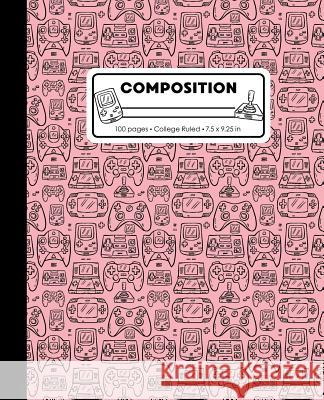 Composition: College Ruled Writing Notebook, Rose Pink Video Game Controller Outline Pattern Marbled Blank Lined Book Lilamae Press 9781075652998