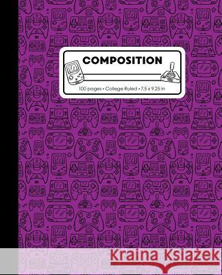Composition: College Ruled Writing Notebook, Purple Video Game Controller Outline Pattern Marbled Blank Lined Book Lilamae Press 9781075653001
