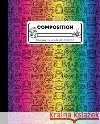 Composition: College Ruled Writing Notebook, Rainbow Video Game Controller Outline Pattern Marbled Blank Lined Book Lilamae Press 9781075653018