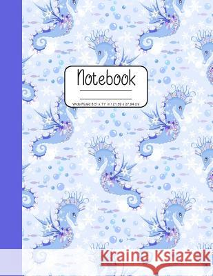 Notebook Wide Ruled 8.5 x 11 in / 21.59 x 27.94 cm: Composition Book, Seahorses in Pastel Purple Cover, C856 Printed Kat 9781078004138