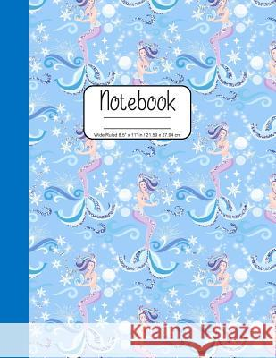 Notebook Wide Ruled 8.5 x 11 in / 21.59 x 27.94 cm: Composition Book, Blue Mermaids with Seashells Cover, C858 Printed Kat 9781078005319