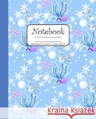 Notebook Wide Ruled 7.5 x 9.25 in / 19.05 x 23.5 cm: Composition Book, Blue and Purple Under The Sea Cover with Seashells, C756 Printed Kat 9781078121477