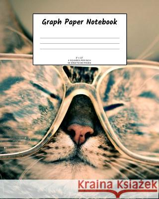 Graph Paper Notebook: Cat in glasses; 4 squares per inch; 50 sheets/100 pages; 8