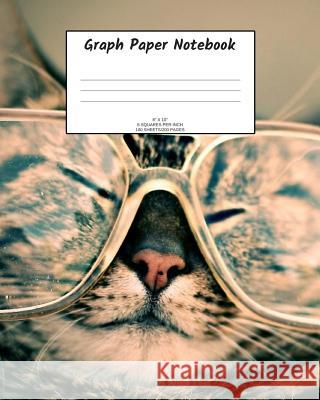 Graph Paper Notebook: Cat in glasses; 5 squares per inch; 100 sheets/200 pages; 8