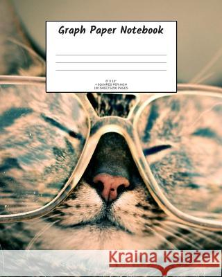 Graph Paper Notebook: Cat in glasses; 4 squares per inch; 100 sheets/200 pages; 8