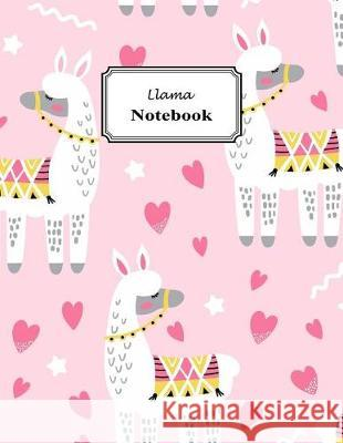 Llama Notebook: Cute Whimsical Llama Hot Pink Hearts Pastel Pink Background (Journal, Composition Book) Large 8.5 X 11 Inch Wolf Mountai 9781092221122