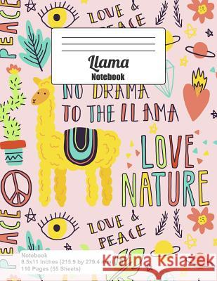 Llama Notebook: Whimsical Doodle Drawings, Cactus Diamond Flower Leaf Saturn Stars Love Nature Peace Sign (Journal, Diary) Wolf Mountai 9781093788419