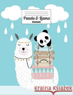 Panda & Llama Notebook: Best of Friends, Suitcases Packed, Traveling on an Adventure, Clouds and Rain (Journal, Diary, Composition Book) Wold Mountai 9781093790979