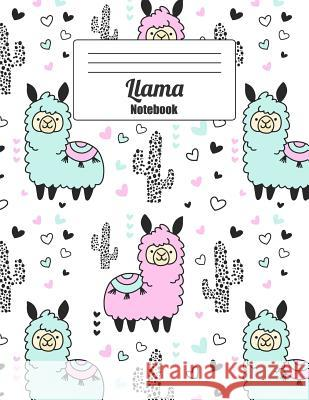 Llama Notebook: Whimsical Pastel Blue and Violet Llamas and Cactus Wide Ruled Paper (Journal, Composition Book, Diary) Wolf Mountai 9781093904154
