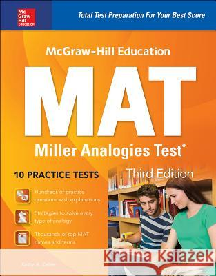 McGraw-Hill Education Mat Miller Analogies Test, Third Edition Kathy Zahler 9781259837081
