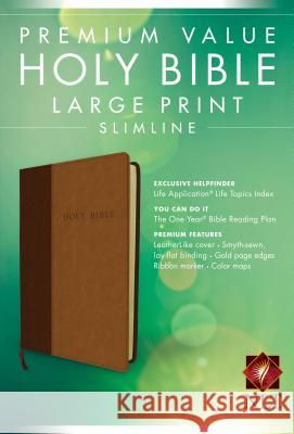 NLT Premium Value Large Print Slimline Bible, Brown/Tan Tyndale 9781414369907