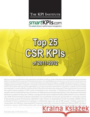 Top 25 Csr Kpis of 2011-2012 Aurel Brudan 9781482598698 Createspace