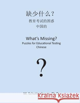 What's Missing? Puzzles for Educational Testing: Chinese M. Schottenbauer 9781492157823