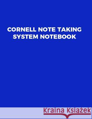 Cornell Note Taking System Notebook Catman Notebooks 9781548118907