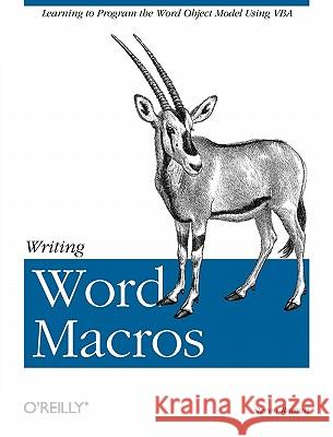 Writing Word Macros Steven Roman 9781565927254 O'Reilly Media