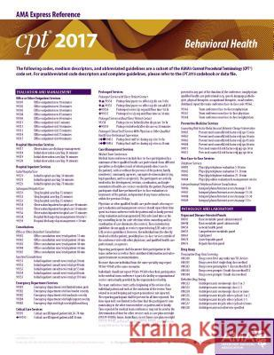 CPT 2017 Express Reference Coding Card Behavioral Health American Medical Association 9781622024155