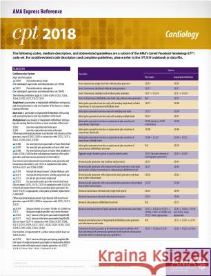 CPT 2018 Express Reference Card: Cardiology American Medical Association 9781622026173