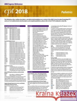 CPT 2018 Express Reference Card: Pediatrics American Medical Association 9781622026180