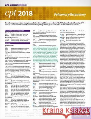 CPT 2018 Express Reference Card: Pulmonary/Respiratory American Medical Association 9781622026197