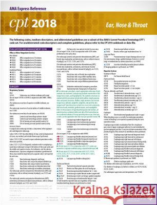 CPT 2018 Express Reference Card: Ent American Medical Association 9781622026234