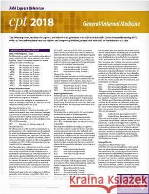 CPT 2018 Express Reference Card: General/Internal Medicine American Medical Association 9781622026241