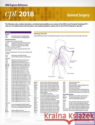 CPT 2018 Express Reference Card: General Surgery American Medical Association 9781622026258