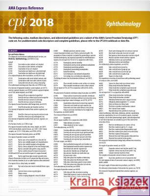 CPT 2018 Express Reference Card: Ophthalmology American Medical Association 9781622026272