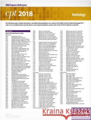 CPT 2018 Express Reference Card: Radiology American Medical Association 9781622026296