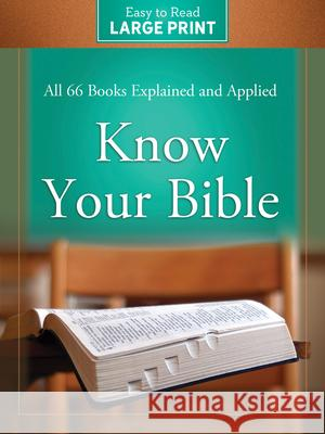 Know Your Bible Large Print Edition Paul Kent 9781643526294 Barbour Publishing