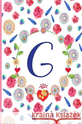 G: G: Monogram Initials Notebook for Women and Girls, Pink Floral 110 page 6x9 inch,
