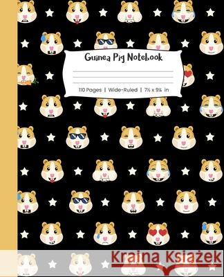 Guinea Pig Notebook 110 Pages Wide-Ruled 7 1/2 x 9 1/4 in: Funny Emoji Guinea Pigs Pattern Sarah Mason Studios 9781686388415