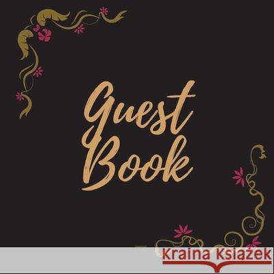 Guest Book - Gold Frame #20 -For any occasion -Light Green Color Pages - 8.5 x 8.5 Inches - 82 pages Pappel20 9781716249129