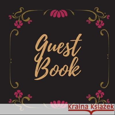 Guest Book - Gold Frame #17 -For any occasion -Light Green Color Pages - 8.5 x 8.5 Inches - 82 pages Pappel20 9781716249143