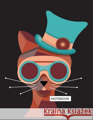 Notebook: Cat on Dark Brown Cover and Lined Pages, Extra Large (8.5 X 11) Inches, 110 Pages, White Paper Cutie Cat 9781718735200