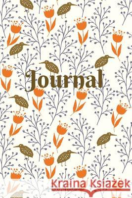Journal: Birds and Foliage - Brown and Orange - 6 X 9 Inch - 100 Pages (50 Sheets) Nine Forty Designs 9781718881105
