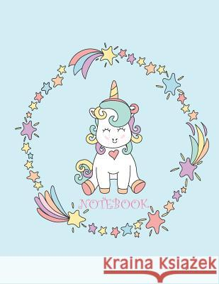 Notebook: Cute Unicorn on Blue Cover and Dot Graph Line Sketch Pages, Extra Large (8.5 X 11) Inches, 110 Pages, White Paper, Ske Cutie Unicorn 9781718981027
