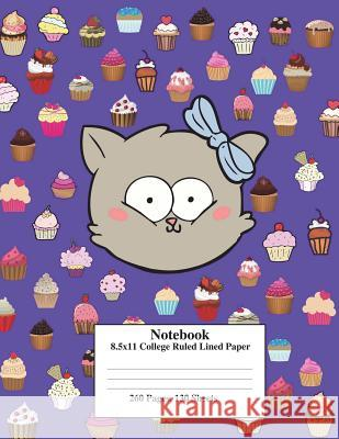 Purple Kitty Cupcake: 8.5x11 College Ruled Composition Notebook Perfect for School&college. Click Author's Name&find the Same Cover, with Wi Kai Journals Fun Journals Kai Journal 9781722321178