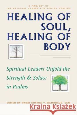 Healing of Soul, Healing of Body: Spiritual Leaders Unfold the Strength and Solace in Psalms Simkha Y. Weintraub Sheldon Zimmerman 9781879045316