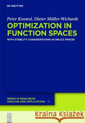Optimization in Function Spaces: With Stability Considerations in Orlicz Spaces Peter Kosmol Dieter M 9783112146064