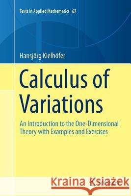 Calculus of Variations : An Introduction to the One-Dimensional Theory with Examples and Exercises Hansjorg Kielhofer 9783319890388 Springer