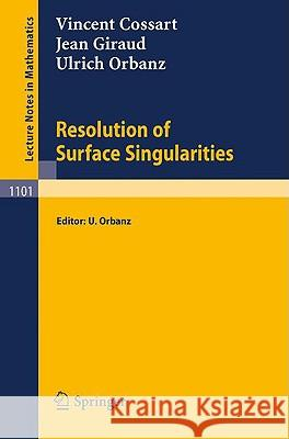 Resolution of Surface Singularities: Three Lectures Vincent Cossart Jean Giraud Ulrich Orbanz 9783540139041 Springer