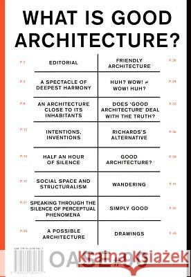 Oase 90: What Is Good Architecture? Veronique Patteeuw 9789462080645