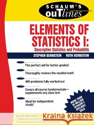 Schaum's Outline of Elements of Statistics I: Descriptive Statistics and Probability Stephen Bernstein Ruth Bernstein Schaums 9780070050235 McGraw-Hill Companies - książka