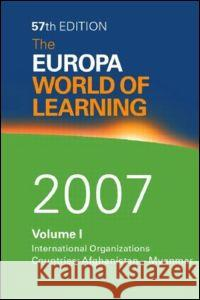 The Europa World of Learning 2007 Europa Publications Europa Publications  9781857433982 Taylor & Francis - książka